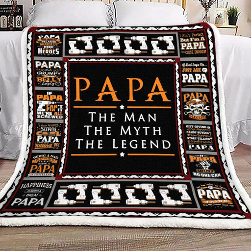 Gift For Dad Fleece Blanket Papa The Man The Myth The Legend | Family Blanket