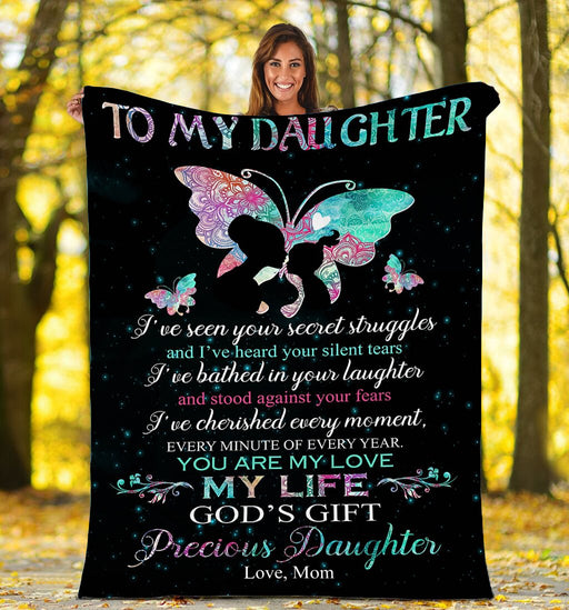 To my Daughter Butterfly Fleece Blanket - Birthday Gift, Christmas Gift For Daughter | Family Blanket