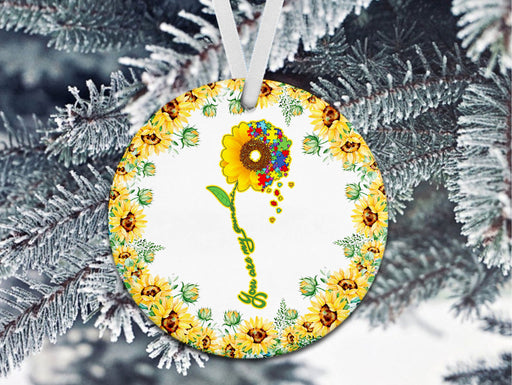 Sunflower Autism - You Are My Sunshine - Christmas Ornament - Christmas Gift