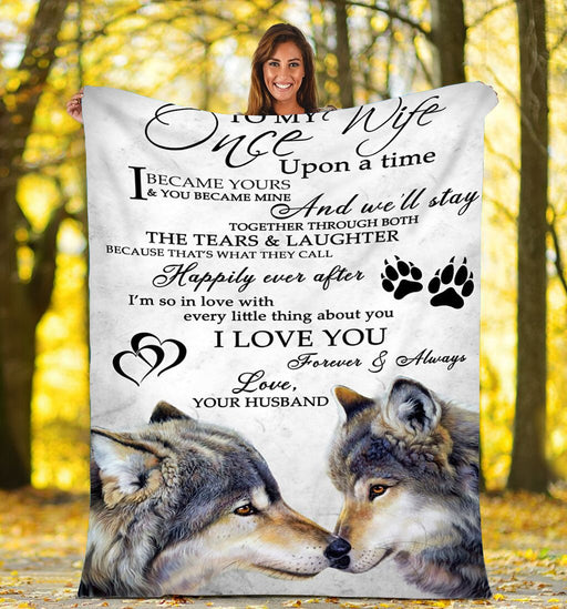 To My Wife Wolf Fleece Blanket - Anniversary, Valentine Gift For Wife - Christmas Gift