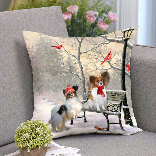 Papillon On A Date Square Pillow | Christmas Gift