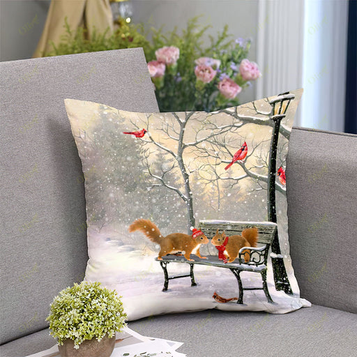 Squirrel On A Date Square Pillow | Christmas Gift