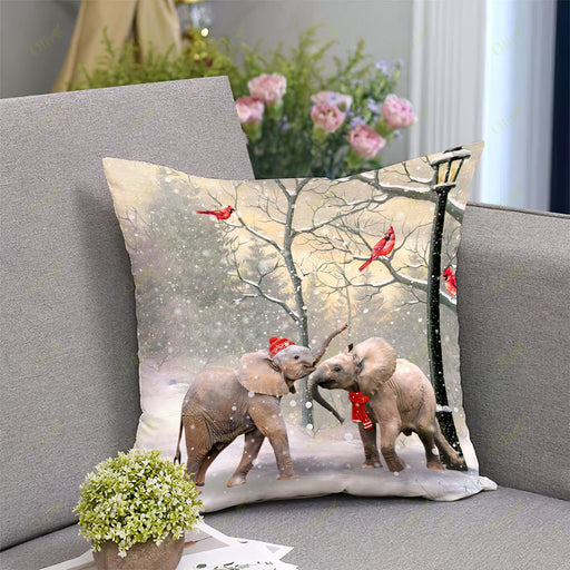 Elephant On A Date Square Pillow | Christmas Gift