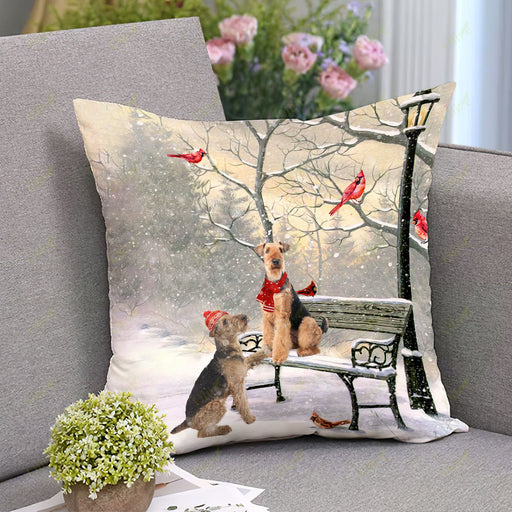 Airedale Terrier On A Date Square Pillow | Christmas Gift