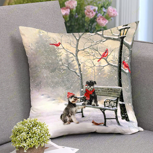 Schnauzer On A Date Square Pillow | Christmas Gift