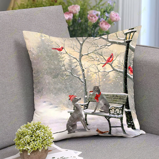 Italian Greyhound On A Date Square Pillow | Christmas Gift