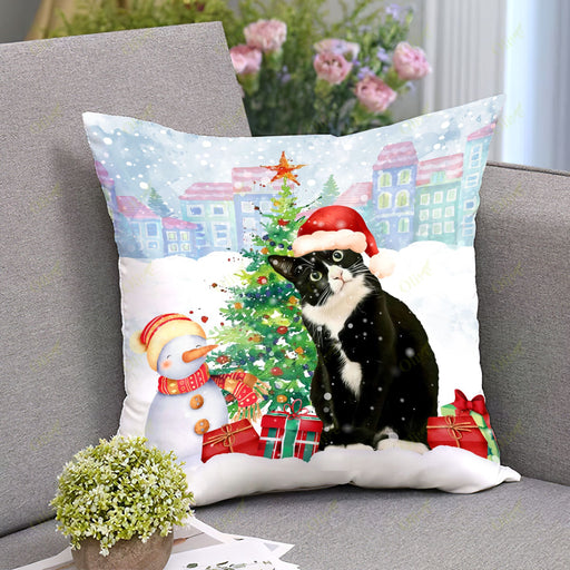 Tuxedo Cat - A Warm Christmas 2 Square Pillow | Christmas Gift