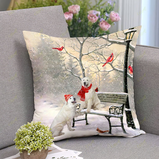 Great Pyrenees On A Date Square Pillow | Christmas Gift