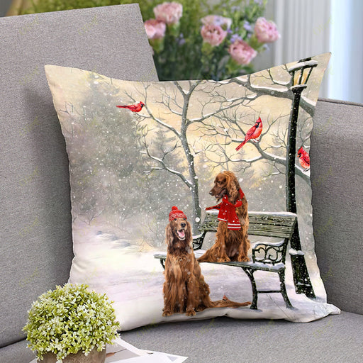 Irish Setter On A Date Square Pillow | Christmas Gift