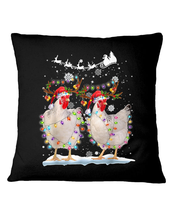 Hen Tree Lights Xmas Pillowcase