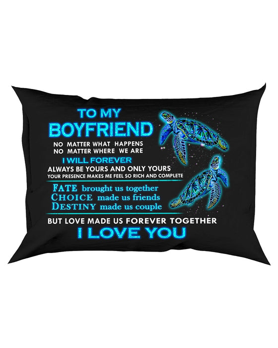 Turtle Boyfriend Love Made Us Forever Together Pillowcase