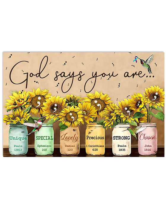 God Says Suicide Prevention Horizontal Canvas And Poster | Wall Decor Visual Art