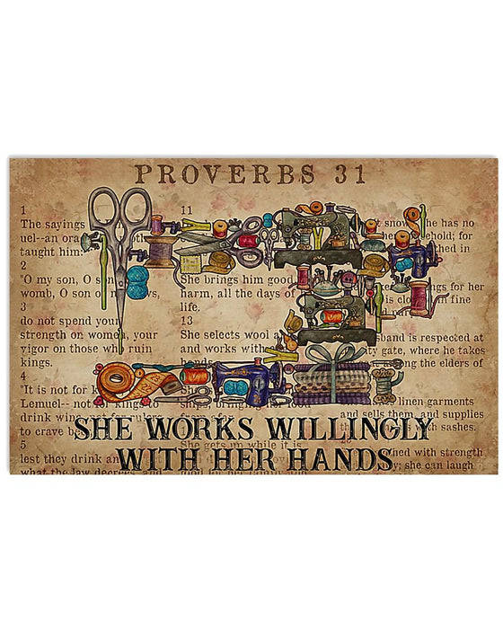 Sewer She Works Willingly With Her Hands Horizontal Canvas And Poster | Wall Decor Visual Art