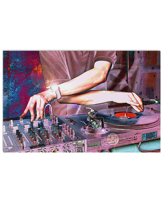 DJ Spinning Horizontal Canvas And Poster | Wall Decor Visual Art