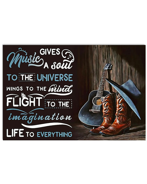 Music Gives Guitar Horizontal Canvas And Poster | Wall Decor Visual Art