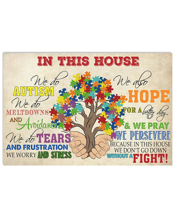 Autism In This House Horizontal Canvas And Poster | Wall Decor Visual Art