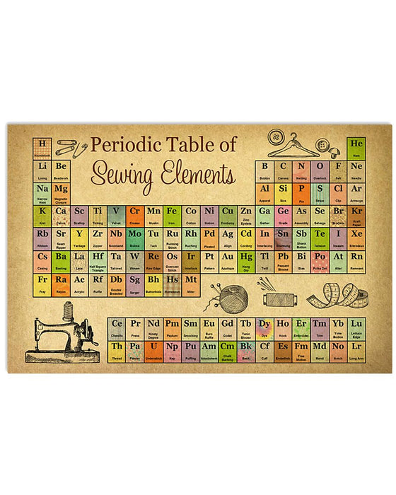Periodic Table Of Sewing Elements Horizontal Canvas And Poster | Wall Decor Visual Art