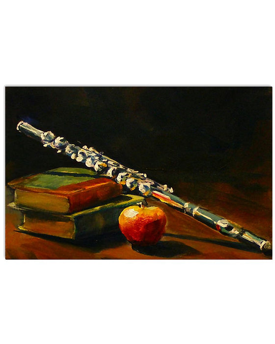 Art Vintage Book Apple Flute Horizontal Canvas And Poster | Wall Decor Visual Art