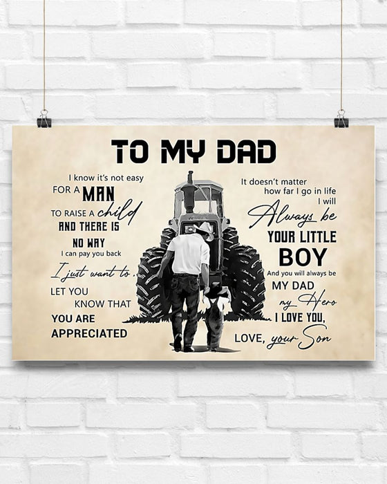 Farmer To My Dad Horizontal Canvas And Poster | Wall Decor Visual Art