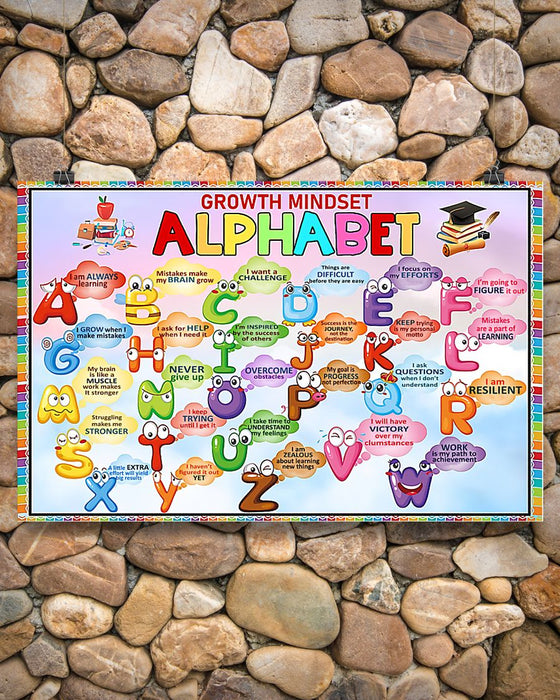 Teacher Growth Mindset Alphabet Horizontal Canvas And Poster | Wall Decor Visual Art