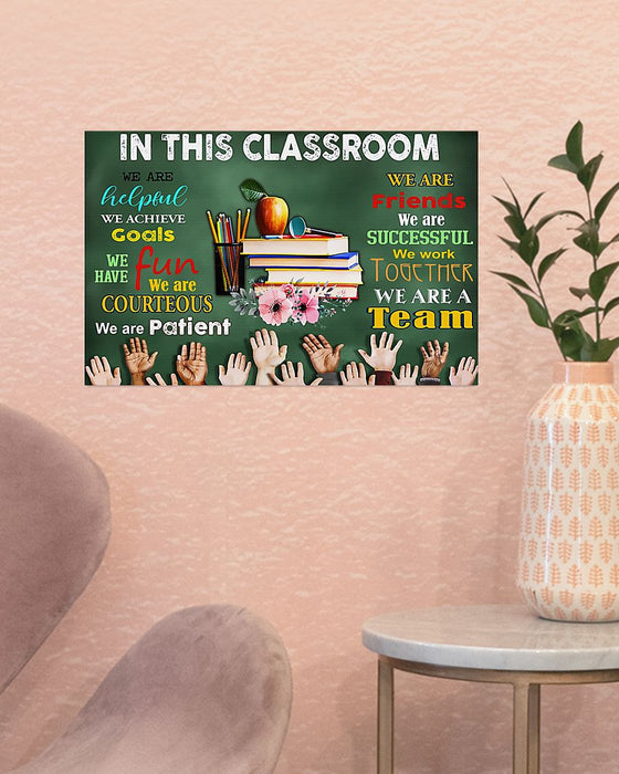 Teacher We Are A Team Horizontal Canvas And Poster | Wall Decor Visual Art