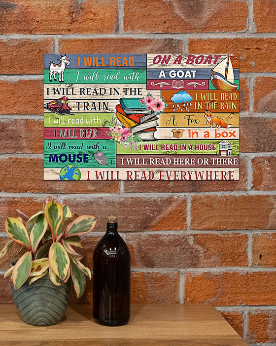 Book Lovers I Will Read Everywhere Horizontal Canvas And Poster | Wall Decor Visual Art