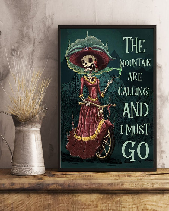 Skull Art - The Mountains Are Calling Vertical Canvas And Poster | Wall Decor Visual Art