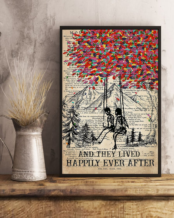 Skull Art - And They Lived Happily Vertical Canvas And Poster | Wall Decor Visual Art