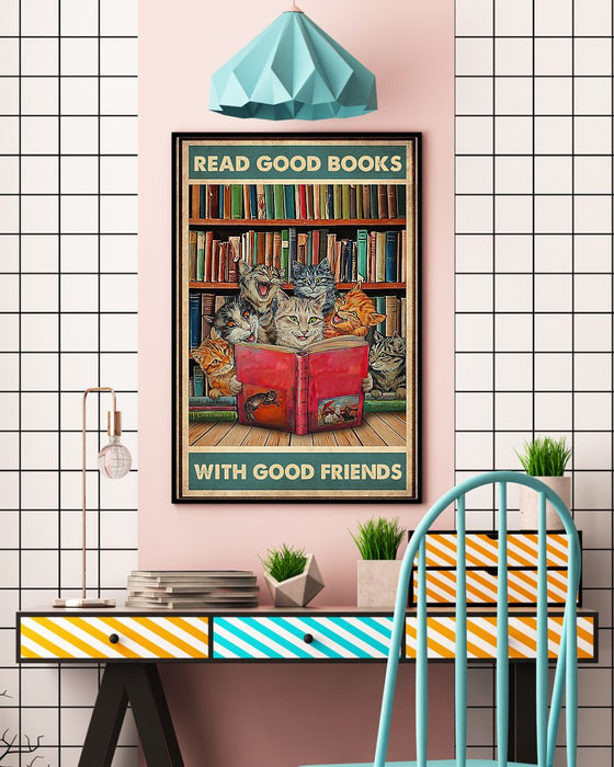 Librarian Read Good Books With Good Friends Vertical Canvas And Poster | Wall Decor Visual Art