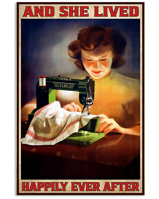 Sewing And She Lived Happily Ever After Vertical Canvas And Poster | Wall Decor Visual Art