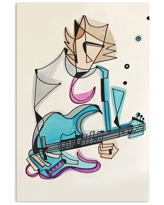 Bass Guitar Brouillard The Bass Guitarist Vertical Canvas And Poster | Wall Decor Visual Art