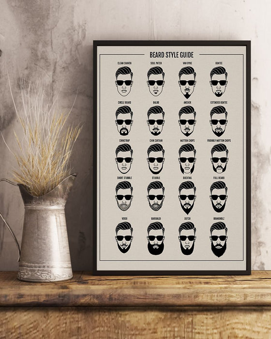 Beard Style Guide Hairdresse Vertical Canvas And Poster | Wall Decor Visual Art