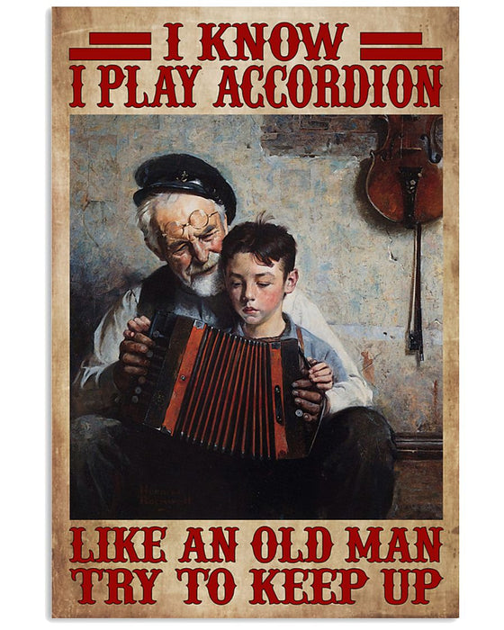 Accordion Try To Keep Up Vertical Canvas And Poster | Wall Decor Visual Art