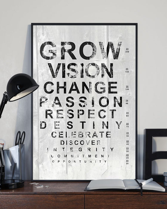 Optometrist White Eye Chart Vertical Canvas And Poster | Wall Decor Visual Art