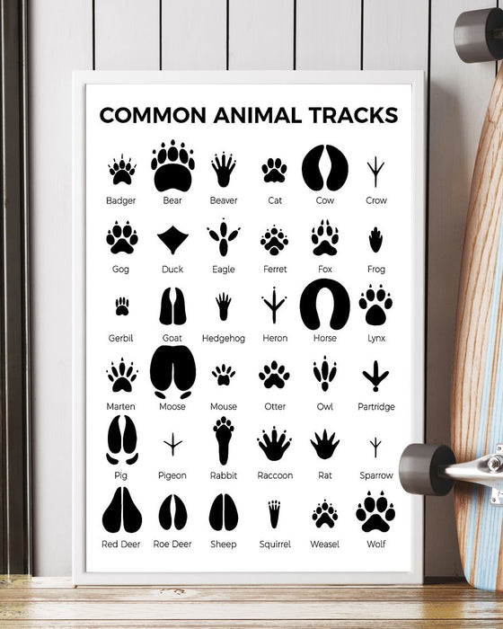 Veterinarians Common Animal Tracks Vertical Canvas And Poster | Wall Decor Visual Art