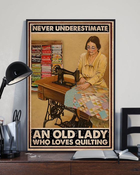 Sewing An Old Lady Vertical Canvas And Poster | Wall Decor Visual Art