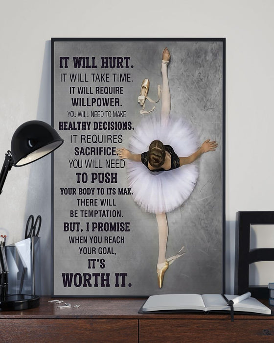 Ballet It's Worth It Vertical Canvas And Poster | Wall Decor Visual Art