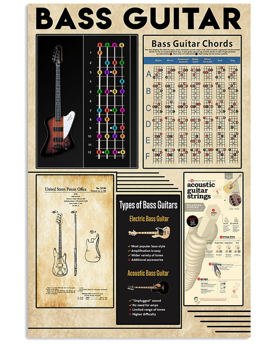 Bass Guitar Knowledge Vertical Canvas And Poster | Wall Decor Visual Art