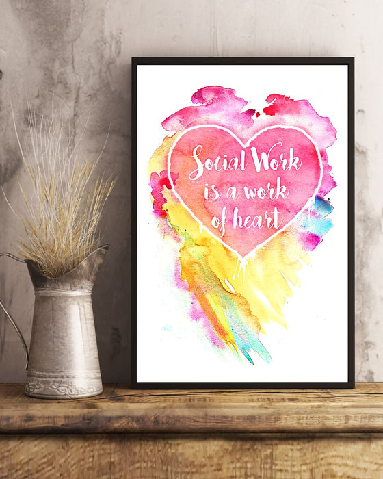 Social Work Is A Work Of Heart Colors Art Vertical Canvas And Poster | Wall Decor Visual Art