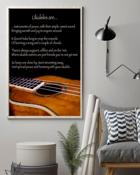 Ukulele Inspirational Poem Vertical Canvas And Poster | Wall Decor Visual Art