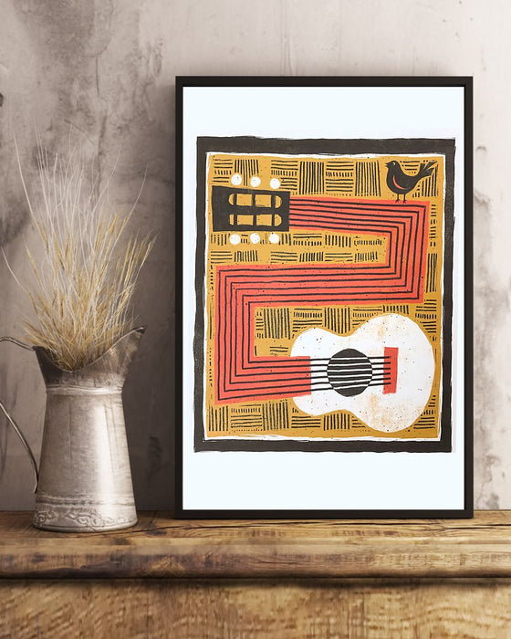Guitar Bird Vertical Canvas And Poster | Wall Decor Visual Art
