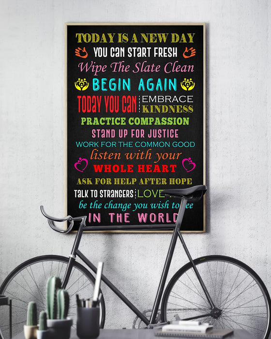 Social Worker Today Is A New Day Poster Vertical Canvas And Poster | Wall Decor Visual Art