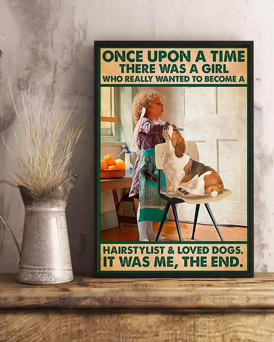 Girl Wanted To Become Hairstylist And Loved Dog Vertical Canvas And Poster | Wall Decor Visual Art