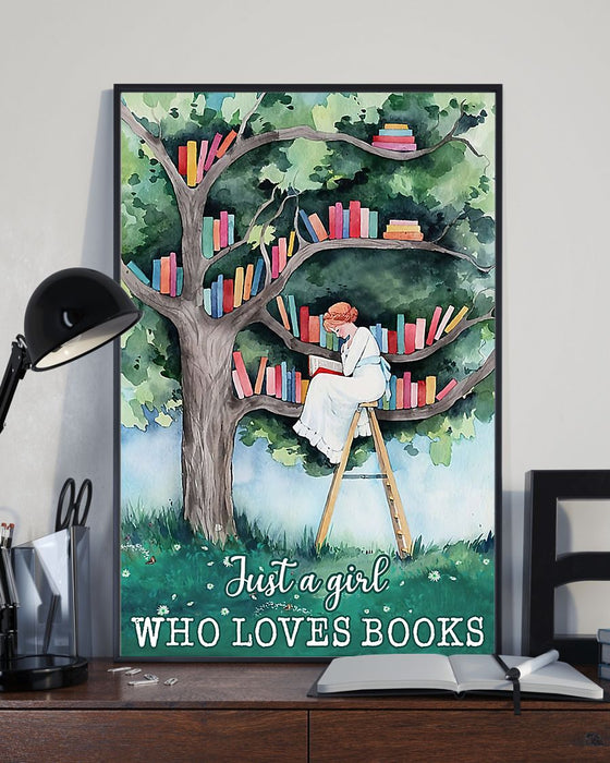Just A Girl Who Loves Books Vertical Canvas And Poster | Wall Decor Visual Art