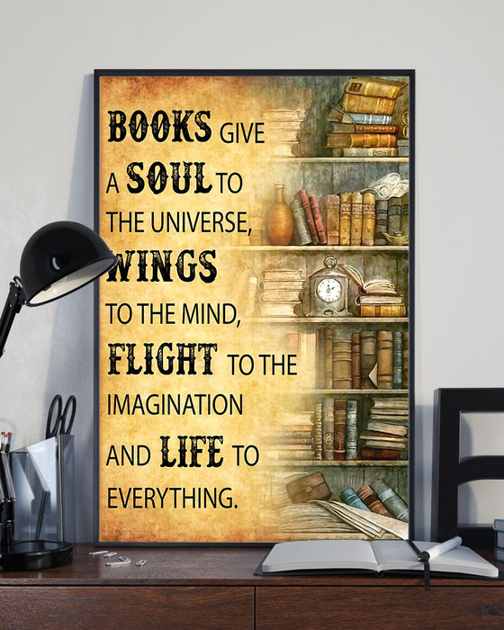 Librarian Books Give A Soul To Universe Poster Vertical Canvas And Poster | Wall Decor Visual Art