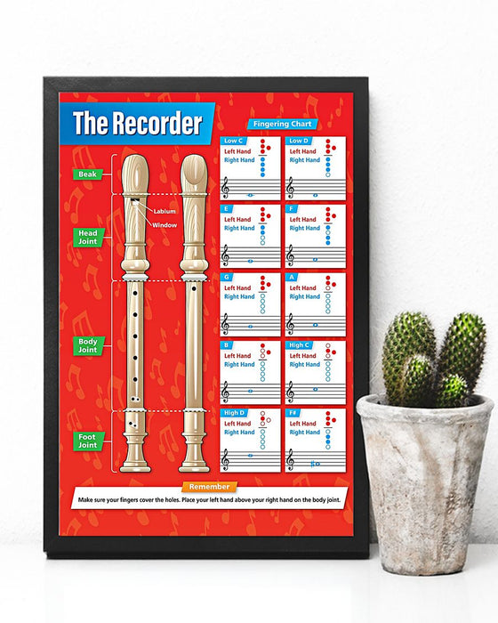 The Recorder - Fingering Chart Vertical Canvas And Poster | Wall Decor Visual Art