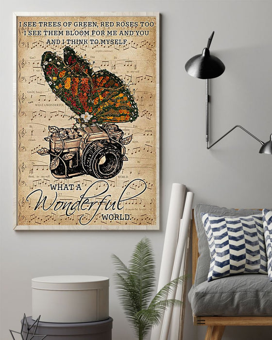 Photographer What A Wonderful World Vertical Canvas And Poster | Wall Decor Visual Art