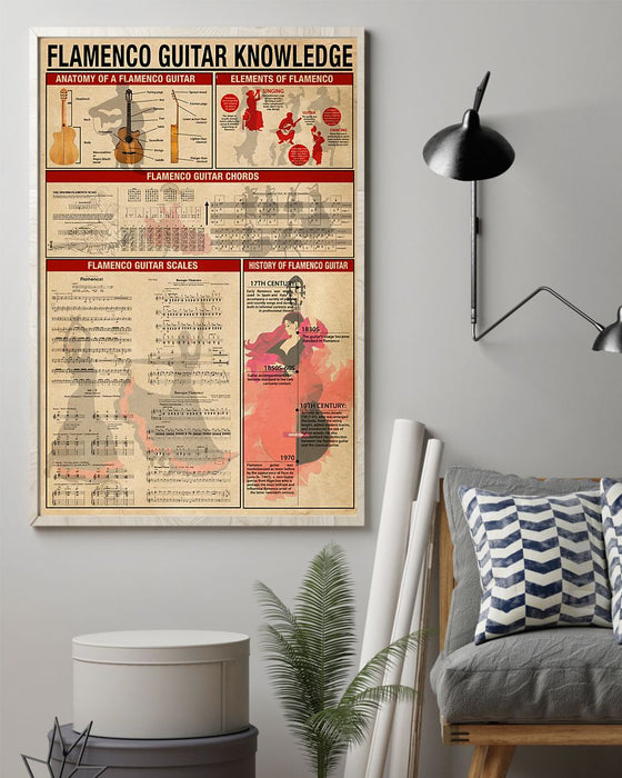 Flamenco Guitar Knowledge Vertical Canvas And Poster | Wall Decor Visual Art