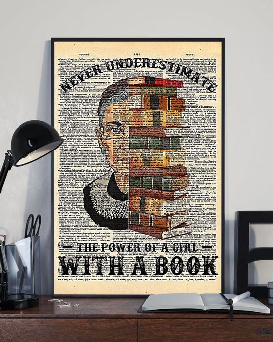 Librarian The Power Of A Girl With A Book Vertical Canvas And Poster | Wall Decor Visual Art
