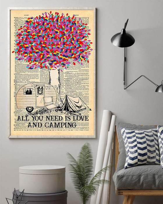 All You Need Is Love And Camping Vertical Canvas And Poster | Wall Decor Visual Art